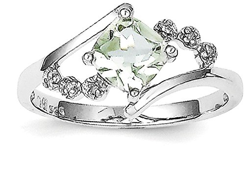 ICE CARATS 925 Sterling Silver Princess Cut Green Quartz Diamond Band Ring Size 6.00 Stone Gemstone Fine Jewelry Gift Set For Women Heart (Diamond Sister Ring)