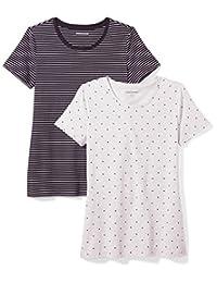 Amazon Essentials Womens Standard 2-Pack Short-Sleeve Crewneck Patterned T-Shirt