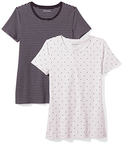 Amazon Essentials Women's 2-Pack Classic-Fit Short-Sleeve Crewneck T-Shirt, Black Stripe/Heart Print, Medium