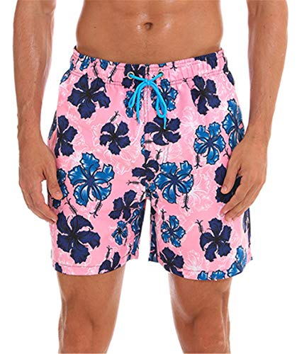 onlypuff Hawaiian Shorts Pink Boardshorts Mens Beach Shorts Floral Print Swimming Trunks L