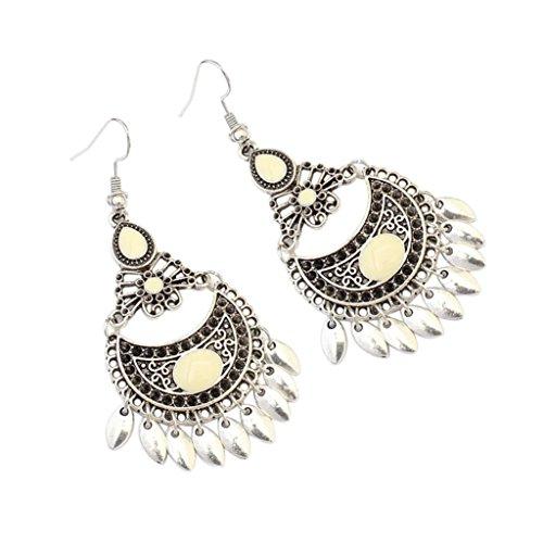 1 Pair Women Fashion Bohemian Vintage Drop Earrings Hook Earring Jewelry Accessory (D) - Sterling Silver Small Beaded Cross