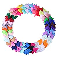 ICObuty 40 pcs 3 inch Hair Bows for Girls Baby Toddlers Infant Hair Clips Hai...