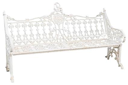 Biscottini Cast Iron Made Art Nouveau Antiqued White Finish W180xDP70xH105  Cm Sized Bench
