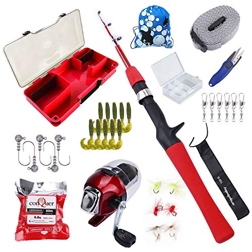 - Freehawk Kids Fishing Pole with Spincast Reel,Fishing Rod Combo Full Kits, Portable Telescopic Youth Fishing Rod with Full Kits Lure Case and Carry Bag for Youth Fishing and Beginner (Red)