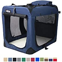 """EliteField 3-Door Folding Soft Dog Crate, Indoor & Outdoor Pet Home, Multiple Sizes and Colors Available (30""""L x 21""""W x 24""""H, Navy Blue)"""