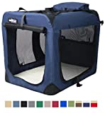 EliteField 3-Door Folding Soft Dog Crate, Indoor & Outdoor Pet Home, Multiple Sizes and Colors Available (24'L x 18'W x 21'H, Navy Blue)