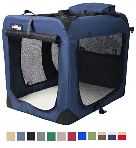 EliteField 3-Door Folding Soft Dog Crate, Indoor & Outdoor Pet Home, Multiple Sizes and Colors Available (20'L x 14'W x 14'H, Navy Blue)