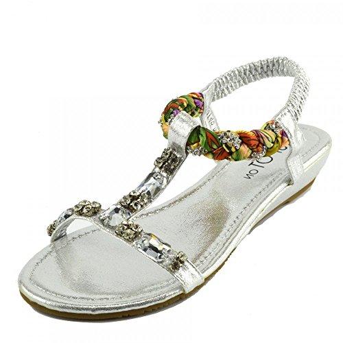 Kick Footwear - DAMEN FLACH GLADIATOR SOMMER STRAND FLIP-FLOP-URLAUB SANDALEN SCHUHE Silber Modell Nein.1