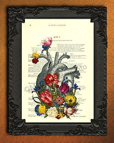 Anatomical Heart with Flowers Dictionary Print, Colorful Floral Human Anatomy Poster on Antique Book Page Wall Art, Home Decorations for Living Room