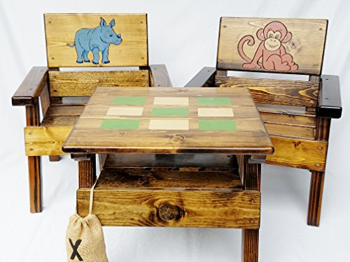 Kids Jungle Safari Table and Chairs Set, Indoor / Outdoor Furniture, Engraved & Painted Folk Art