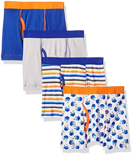 Trimfit Boys' 100 Percent Cotton Tagless Boxer Briefs 4-Pack, Football Star, (Boys Football Underwear)