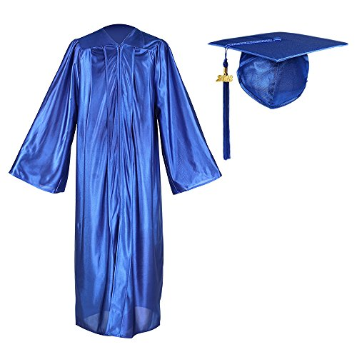 YesGraduation Shiny Graduation Gown Cap Tassel Set 2018 Year Charm For High School and College Ceremony (51, Royal)