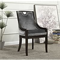 Iconic Home FDC2712-AN Owen Neo Traditonal Velvet Nailhead Dining Side Chair, Grey