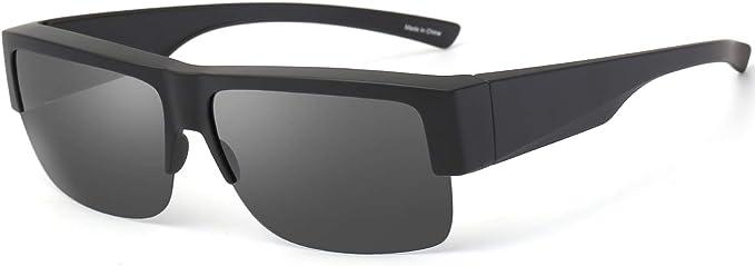 CAXMAN Over Glasses Sunglasses Polarized Lens for Women Men Semi Rimless Frame