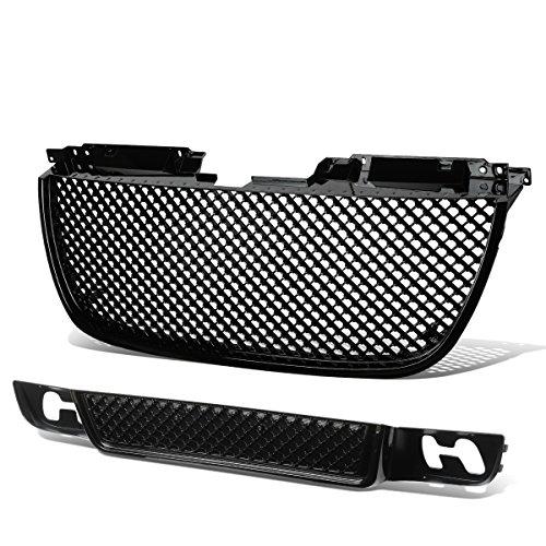 For 07-14 GMC Yukon/1500/2500 ABS Plastic Diamond Mesh Style Front Upper & Lower Bumper Grille (Black) ()