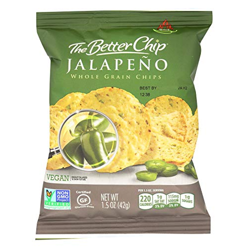 The Better Chip Whole Grain Chips, Jalapeno with Sea Salt Tortilla Chips, 1.5 Ounce (Pack of 27) - Jalapeno Tortilla Chips