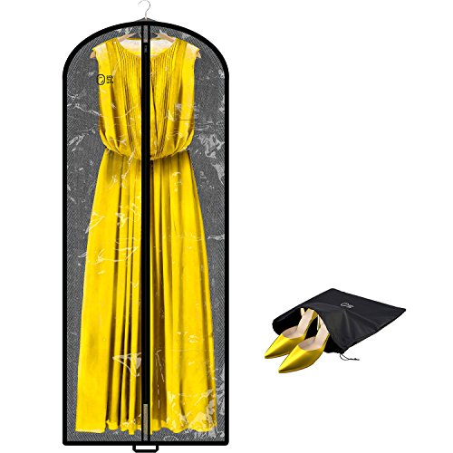 Clear Travel Garment Bag Cover Hanging | 60 Inch | Long Women Dress, Wedding Evening Gown, Fur Coat, Men Suit, Large Clothes Closet Storage Garment Bag Carry On | Breathable, Moth Proof, Foldable by SAY HO UM