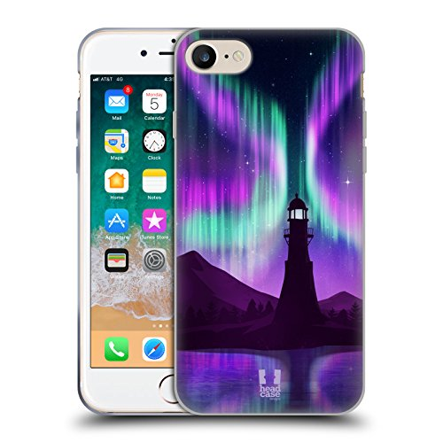 Head Case Designs Lighthouse Seascape Northern Lights Soft Gel Case Compatible for iPhone 7 / iPhone 8