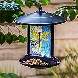 #5: CEDAR HOME Hanging Solar Bird Feeder Outdoor Garden Decorative Water Proof Glass Pet BirdFeeder with Eave, Iridescent Dragonfly