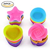 baking cups bakeware supplies - LKE 24pcs/set Nonstick Cupcake Molds, Reusable and Heat Resisant Baking Cups, Kid's Party Baking Supplies Round/Heart/Rose/Star Shape Silicone Cake Muffin Liners
