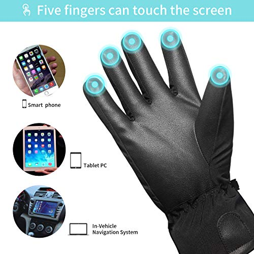 SKDK Outdoor Gloves Lightweight Touchscreen Windproof Warm Touchscreen Gloves Men Women for Cycling Running Sports (Black-Thicken, S)
