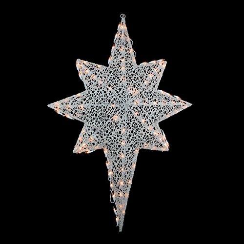 """Northlight Lighted White Glittering Mesh 2-D Star of Bethlehem Christmas Yard Art Decoration, 36"""""""