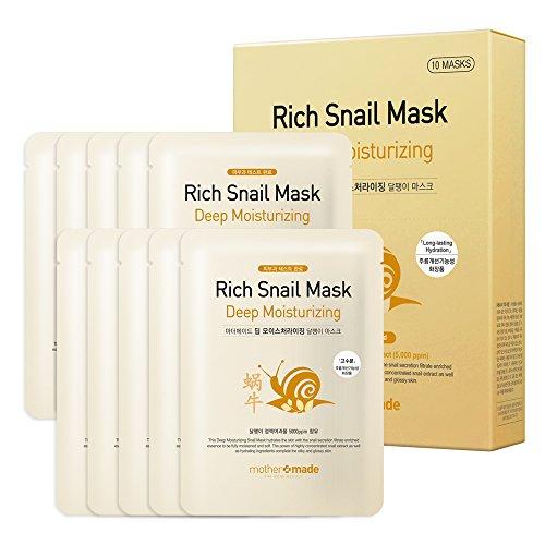 mothermade® Deep Moisturizing Rich Snail Facial Mask 10 individually packaged bundle - 100% cotton Cupra sheet, Anti-aging, Anti-Wrinkle, Deep Hydration, Snail Secretion Filtrate (5,000 ppm)