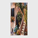 One Side Printing Hotel SPA Beach Pool Bath Hand Towel,Rustic Terrace Flowers and Garden House Greece with Rustic Window Oil Painting Green Brown and Peach,for Kids Teens and Adults