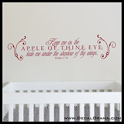 Keep Me as the Apple of Thine Eye, Hide me Under the Shadow of Thy Wing, Psalm 17:8 quote Bible scripture Vinyl Wall - Wings Thy