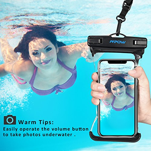 Mpow Waterproof Phone Pouch, Full Transparency IPX8 Waterproof Case with Adjustable Lanyard Universal Dry Bag Compatible for iPhone X/8/8P/7/7P, Galaxy S9/S9P/S8P/Note 8, Google/HTC up to 6.0'' 2-Pack by Mpow (Image #2)