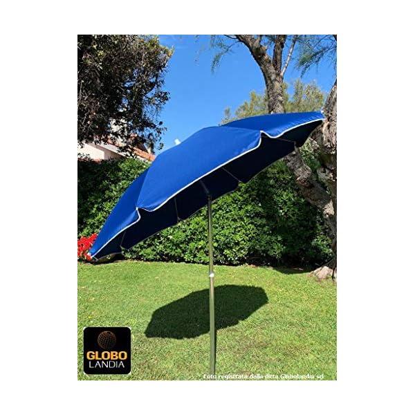 GLOBOLANDIA SRL 89503BLU - Ombrellone Parasole da Spiaggia in Alluminio da 220 cm con Snodo per la Reclinazione Colore… 2 spesavip