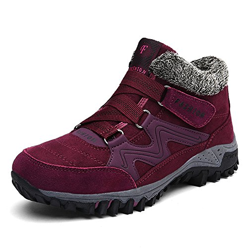 ZOEASHLEY Damen Herren Winterschuhe Boots Warm Gefüttert Winter Stiefel Trekking Outdoor Schuhe mit Klettverschluss Gr.36-45 Rot