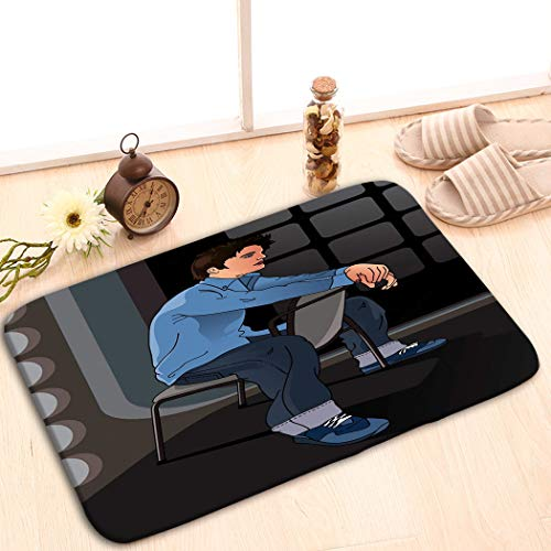 zexuandiy Outside Shoe Mat Non-Slip Doormat for Front Door Outdoor Mats Entrance Rugs Door Mat 23.6x15.7 Portrait Handsome boy Sitting Chair