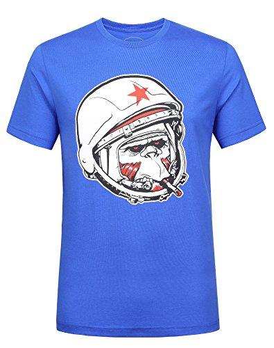 (Modern Tee Smoking Helmet Cool Graphic Monkey T-Shirt Fashion Short Sleeve Funny Novelty Crew Neck Tees (XL, Sapphire Blue))