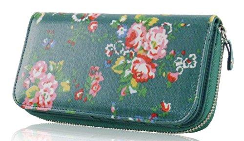 Kukubird Estampado Floral Rosa Patrón Grande Cartera De Embrague Green