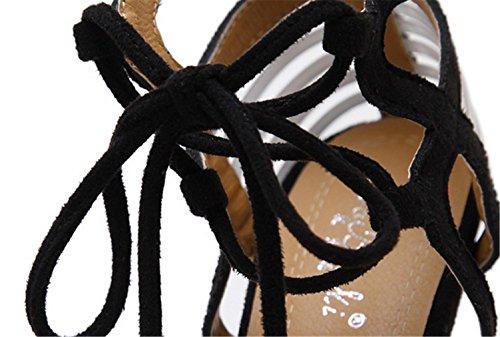 MNII?Womens Straps Plattform Ferse KnöChelriemen Hochzeit Club Prom Party Bankett Schuhe Black