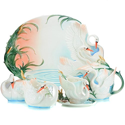 Choholete Porcelain Ceramic Elegant White Swan Coffee Mug Set Tea Set 16-Piece