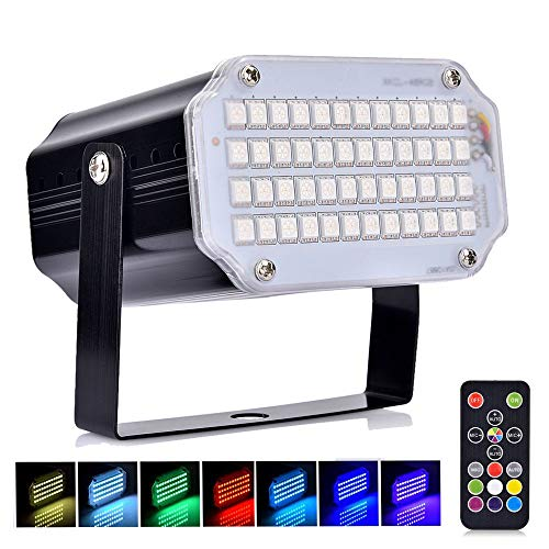 (Aushen 48 Leds Halloween Strobe Light,Mini Portable Powerful Party Light,Sound Activated Flash Stage Light Speed Control for Indoor Dance Disco DJ Parties Wedding Christmas Club Wedding Show Pub)