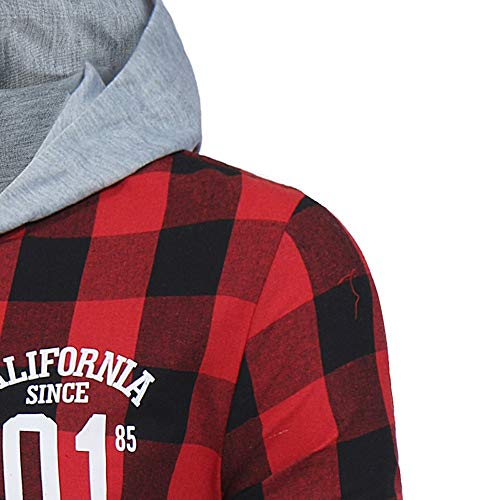 895d52105937d WUAI Men s Shirts Long Sleeve Checkered Classic Slim Fit Plaid Button Down  Shirt Hoodie Sweatshirt (