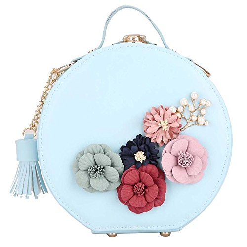 Tassel Messenger Bag Shoulder Bag Clutch Bag Fashion Round Blue Mini Handbag Small Stereotypes Flower 2018 0wq7SaHax