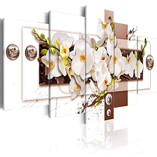 Bilder 200x100 cm - 3 Farben zur Auswahl ! XXL Format! Fertig Aufgespannt TOP Vlies Leinwand - 5 Teilig - Blumen Abstrakt Wand Bild Bilder Kunstdrucke Wandbild b-C-0150-b-o 200x100 cm