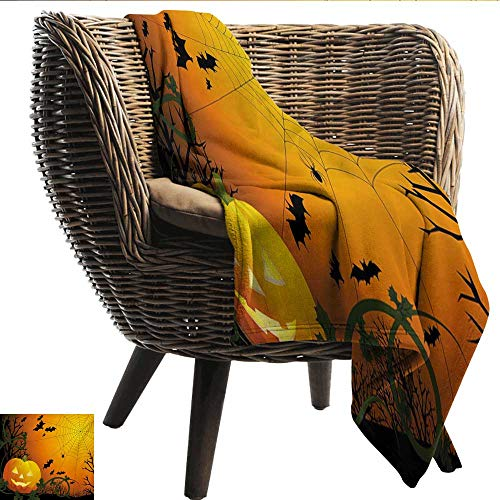 (Anshesix Cozy Flannel Blanket Spider Web Halloween Themed Composition with Pumpkin Leaves Trees Web and Bats Light and Warm W80 xL60 Sofa,Picnic,Camping,Beach,Everyday)
