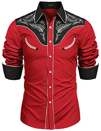 COOFANDY Men's Western Cowboy Embroidered Cotton Long Sleeve Button Down Shirt