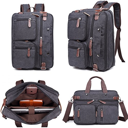 Laptop Bag, Clean Vintage Laptop Hybrid Backpack Messenger Bag/Convertible Briefcase Backpack Satchel Men Women/BookBag Rucksack Daypack-Waxed Canvas Leather, Black