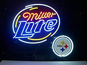 NFL Steelers & Miller Lite Handmade Glass Tube Neon Light