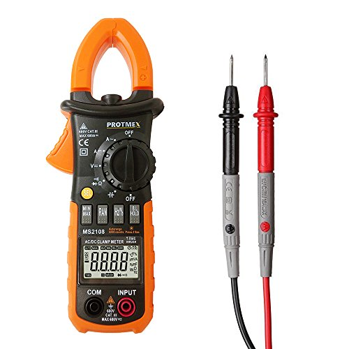 MS2108 Clamp Meter, T-RMS 6000 Counts AC/DC Clamp Meters INRUSH Ammeter Voltmeter Capacitor Ohmmeter Tester LCD Backlight Multimeter Electric Meter