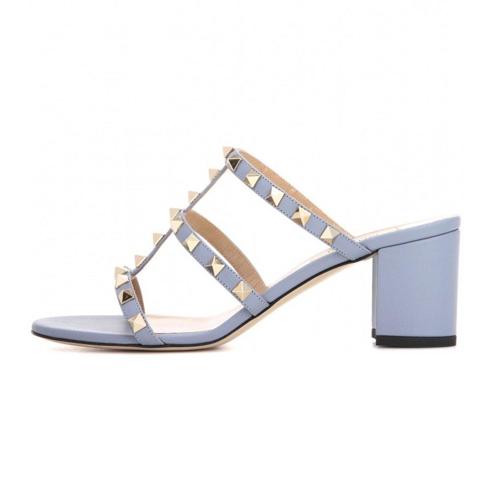 Jushee Damens's Rivets Studded Block Heels Slippers Slip On Hollow Out Mules Schuhes Sandales Bleu PU-5CM