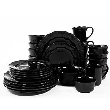 David Tutera Serendra 30 Piece DinnerwareSet, Black