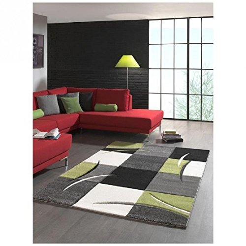 Designer Teppich Moderner Teppich Wohnzimmer Teppich Kurzflor Teppich mit Konturenschnitt Karo Muster Grün Grau Creme Schwarz Größe 200 x 290 cm