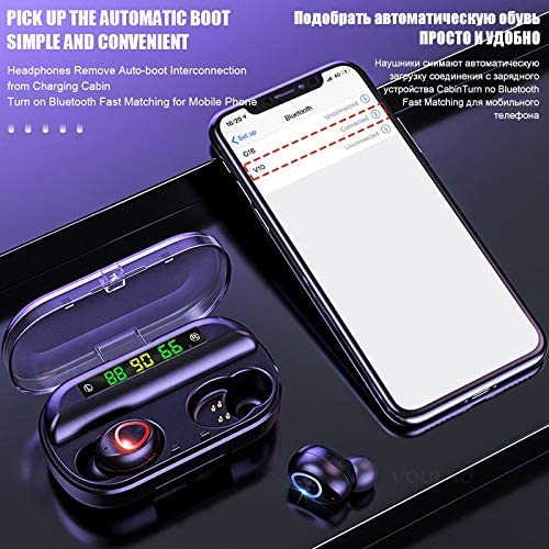 IUYT 8D Wireless Earphone Bluetooth V5.0 Sports Wireless Headphone LED Display Touch Control Stereo Earbuds with Microphone Headset (Color : Touch Control) LED Didsplay